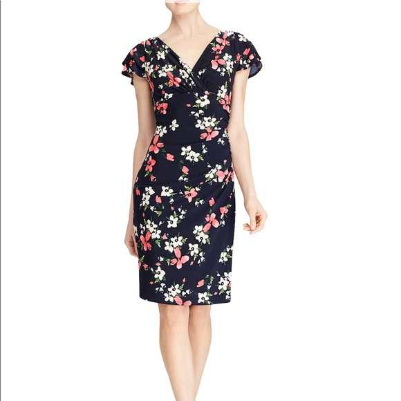 Lauren Ralph Lauren | Floral Surplice Jersey Dress